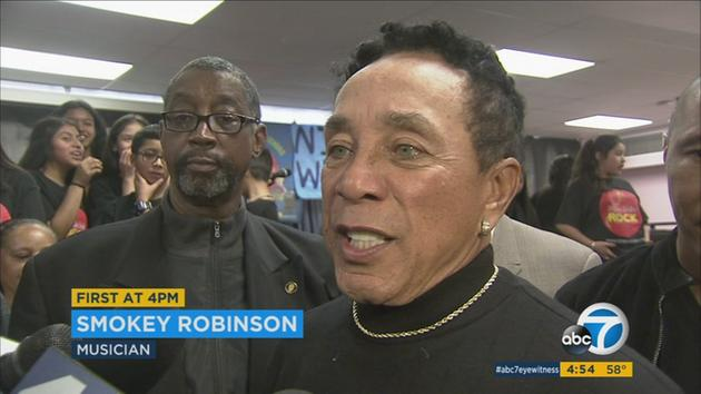 Smokey Robinson donates $1M, musical instruments to school